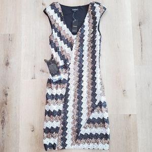 BEBE Sequins Chevron Dress